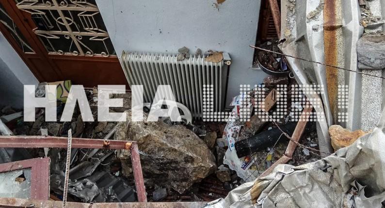 Εικόνες ΣΟΚ στο Λέπρεο - Βράχοι διέλυσαν σπίτι - Η οικογένεια είχε φύγει πριν λίγες ημέρες (photos)