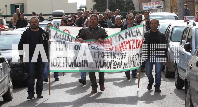 Τριπλή διαμαρτυρία των αγροτών στον Πύργο